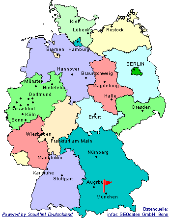 Ort des Stammes in Deutschlandkarte